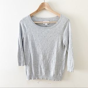 ELLE gray pearl embellished sweater S